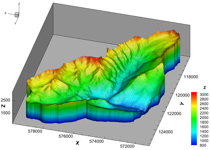 A fully-integrated model of a 37 km2 region of the western Swiss Alps