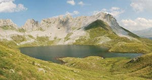 Figure 1. Lake Acherito (Ibon Acherito) on the Spanish side of the Pyrenees. The lake harbors several amphibian species, including the endemic Calotriton asper. It is located at 1900 m elevation, and is the first site in the Pyrenees for which Bd was reported.