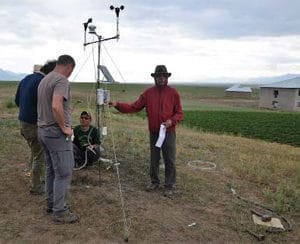 Figure 7. Installing a climate station in the Alai Valley. Photo: Tobias Kraudzun.