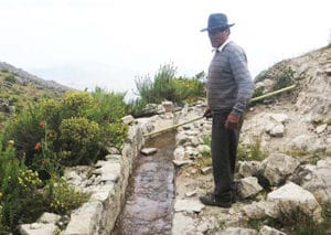 Figure 2. Don Pedro, water manager of Huamantanga, shows me a restored mamanteo – a pre-Incan in ltration channel, which the community believes increases water availability during the dry season.