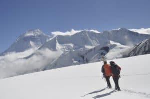Surveying the attitudinal profile of Rikha Samba glacier using dGPS. (Photo: Tika Gurung/ICIMOD)
