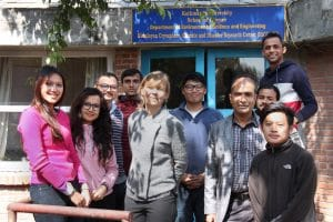 Rijan Bhakta Kayastha (PhD), coordinator for MS by Research programme (KU) second from right, and Anna Sinisalo (PhD), Programme Manager, Cryosphere Initiative, ICIMOD, with the current batch of MS by research students at KU.