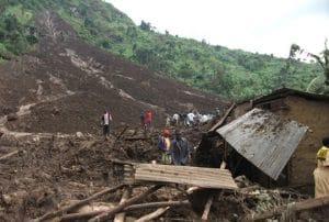 Landslide disaster in Nametsi village in Bududa; over 300 lives were lost in 2010.