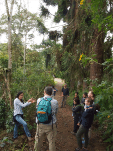 In a post-workshop field trip, participants learn about a ecological restoration project in the Ecuadorian Chocó (Photo: Kenneth Young)