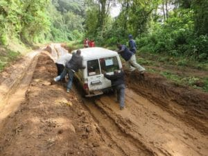 Road conditions to access the Tembo-speaking villages surrounding Mt Kahuzi.