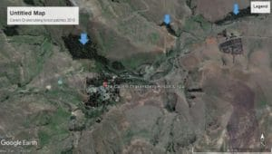 Google Earth image of the area around the Cavern Drakensberg Resort showing general grassland habitat with isolated forest patches (2017).