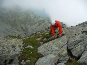 Botanist resurveying Vârful Custura in the Carpathian mountains in Romania in 2014. Photo: Anita Jost, Switzerland.